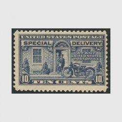 アメリカ 1922年特別配達切手 オートバイの配達10c 紺(目打11)