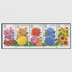 アメリカ 1995年ガーデンフラワー5種切手帳ペーン