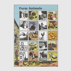 イギリス 2005年農場の動物たち10種連刷ラベル付き
