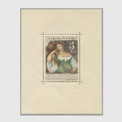 チェコスロバアキア 1965年テッチアーノ画「鏡の前の女」小型シート