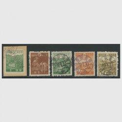 インドネシア義勇軍加刷切手5種
