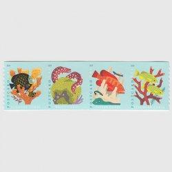 アメリカ 2019年珊瑚礁セルフ糊コイル4種連刷