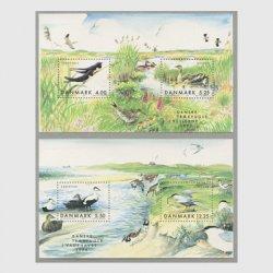 デンマーク 1999年渡り鳥 小型シート2種