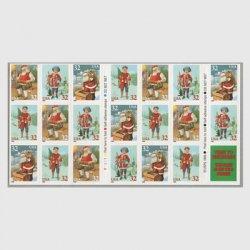 アメリカ 1995年クリスマス サンタクロースと子供 切手帳ペーン