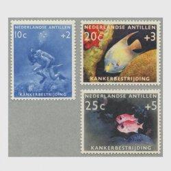 オランダ領アンチル諸島 1960年ダイバーと熱帯魚3種