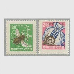 韓国 1962-1963年 児童貯金切手2種・新ウォン貨白紙 ※少難品