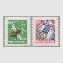 韓国 1963-1964年 児童貯金切手2種・新ウォン貨毛紙