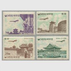 韓国 1962-63年新ウォン貨白紙航空切手4種※少難品