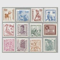 韓国 1963-64年新ウォン貨郵政マークすかし12種