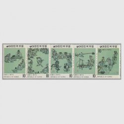 韓国 1971年第2次名画シリーズ第3集5種連刷