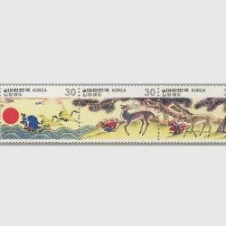 韓国 1980年民画シリーズ「十長生図」4種連刷