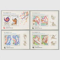 韓国 1985年ソウルオリンピック大会募金小型シート第1-4集4種