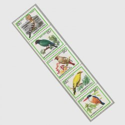 韓国 1987年普通 鳥コイル5種連刷 ※少シミ