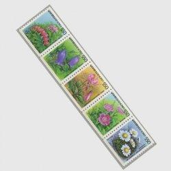 韓国 1987年普通 花コイル5種連刷