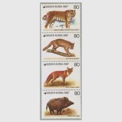 韓国 1987年野生動物4種連刷
