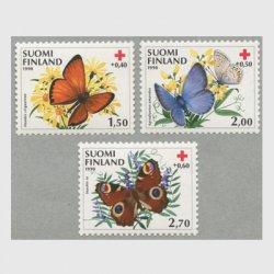 フィンランド 1990年赤十字切手 蝶3種