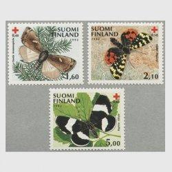 フィンランド 1992年赤十字切手 蝶3種