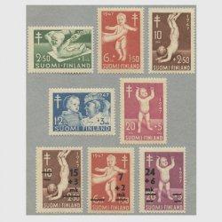 フィンランド 1947-1948年複十字切手 赤ちゃんの検査8種
