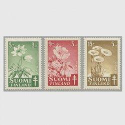 フィンランド 1949年複十字切手 花3種