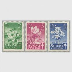 フィンランド 1950年複十字切手 花3種