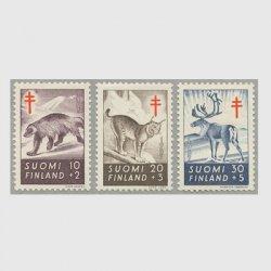 フィンランド 1957年複十字切手 動物3種