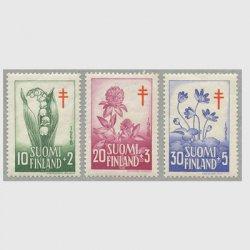 フィンランド 1958年複十字切手 花3種※僅少難