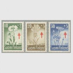 フィンランド 1959年複十字切手 花3種