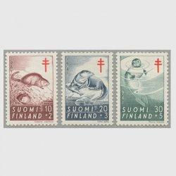 フィンランド 1961年複十字切手 動物3種