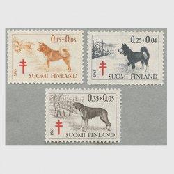 フィンランド 1965年複十字切手 犬3種