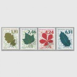 フランス 1994-96年プリキャンセル 樹木の葉シリーズ4種(1次)
