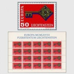 リヒテンシュタイン 1968年ヨーロッパ切手鍵