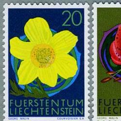 リヒテンシュタイン 1972年赤いユリなど4種