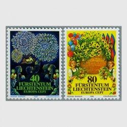 リヒテンシュタイン 1981年ヨーロッパ切手Vaduz Castelの花火など
