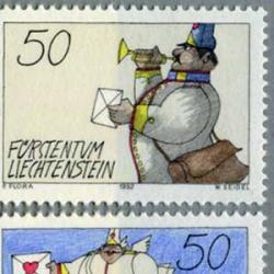 リヒテンシュタイン 1992年ラッパを吹く郵便配達員など2種