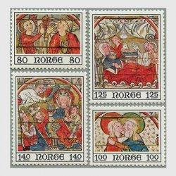ノルウェー 1975年13世紀の教会の宗教画4種