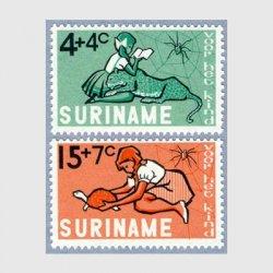 スリナム 1965年読書する少女など2種