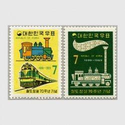 韓国 1969年鉄道70年2種 ※少シミ