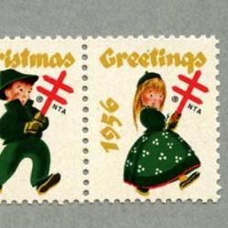アメリカ 1956年クリスマスシールペア