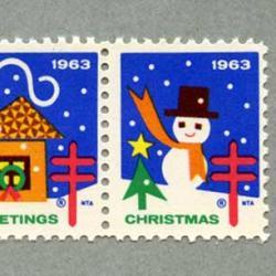 アメリカ 1963年クリスマスシールペア