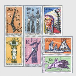 チェコスロバキア 1966年アメリカインディアン博覧会7種