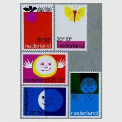 オランダ 1971年「地球、空気、太陽、月、水」5種