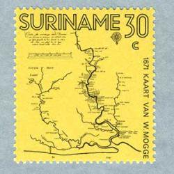 スリナム 1971年William Moggeの地図