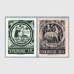 スウェーデン 1971年13世紀のローダ教会の絵2種
