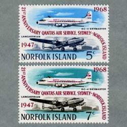ノーフォーク島 1968年カンタス航空就航21周年2種