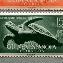 スペイン領ギニア 1954年海ガメなど4種