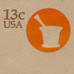 切手付封筒 アメリカ1976年乳鉢13c