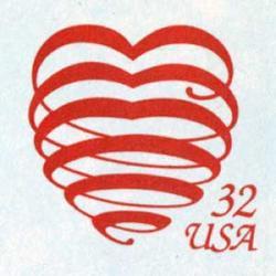 切手付封筒 アメリカ1995年螺旋型のハート32c