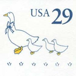 切手付封筒 アメリカ1991年ガチョウの親子29c