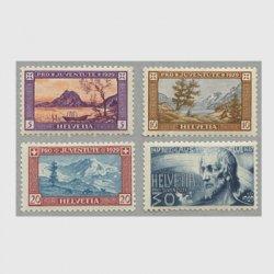 スイス 1929年Lugano湖とSalvatore山など4種