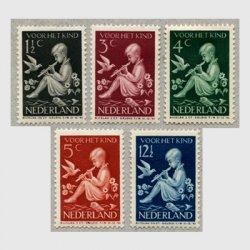 オランダ 1938年リコーダーを吹く子供5種